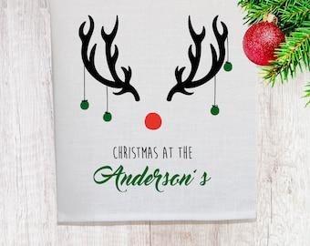 Personalised Christmas Reindeer Linen Tea Towel [Off White]