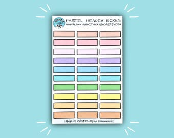 Pastel Header Boxes | Header Planner Sticker | Bullet Journal Stickers | Stickers for Planners, Journals and More | Journaling Supplies