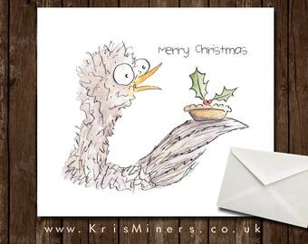 Funny Christmas Card / Chicken with Mince Pie - Merry Christmas