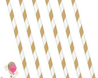 Gold Stripe Party Straws pack of 25, Paper Straws, Birthday Straws, Wedding Straws, Party Straws