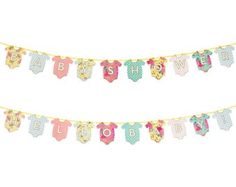 SALE Baby Shower Bunting, Baby Shower Decor, Mom to be, Floral Baby Shower, Pregnancy Bunting, Hello baby bunting, Vintage Baby Shower