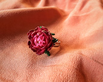 Flower ring, peony ring