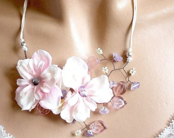 Flower branch necklace jewelry
