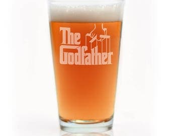 The Godfather Movie Engraved Logo Beer Pint Glass, The Godfather Mug, Godfather Glass, Godfather Gift, Godparent Gift