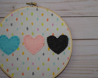 8in Embroidery hoops 3 hearts