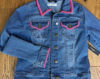 Embellished stretch denim jacket with bright pink trim, size small