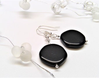 925 sterling silver earrings, solid with black opaque stones