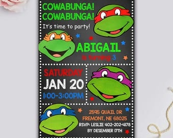 Ninja Turtle Invitation, Ninja Turtles Party, TMNT invitation, Teenage Mutant Ninja Turtle invitations, Ninja Turtle Birthday, Ninja Turtle