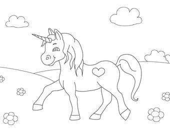 unicorn, coloring, coloring page for kids, printable coloring page