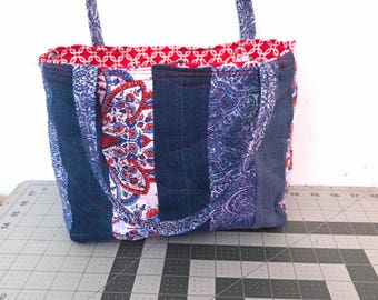 Striped Denim Tote with pocket