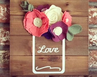 LOVE Flower Mason Jar Wood Sign