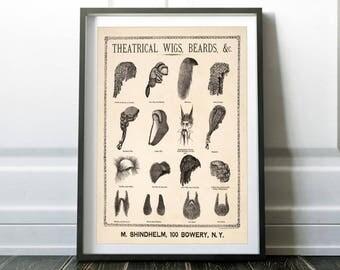 Theatrical wigs, beards / Vintage drawing / Vintage poster print / Theatrical poster / Theatrical print / Vintage poster / Vintage art print
