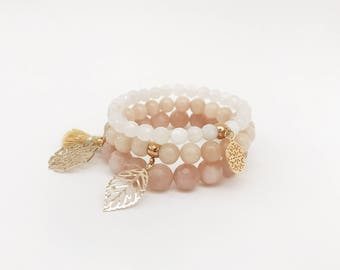 Set of 3 Gemstone Bracelet•  Beaded Bracelet
