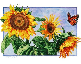 Sunflowers and Monarch Butterfly Archival Quality Print of Watercolour Painting, Flower Illustration