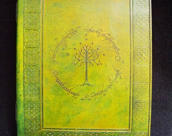 A4 Tolkien Tree of Gondor - Handmade Leather Guest Book, Wedding Album – US Letter Size
