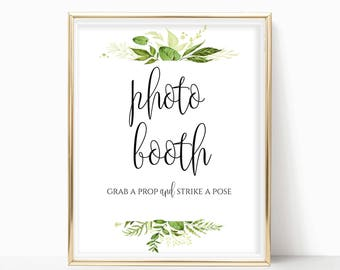 Photo Booth Sign Printable Photo Booth Sign Wedding Reception Sign Wedding Ideas Event DIY Instant Download PDF 8x10, 5x7, 4x6 Greenery