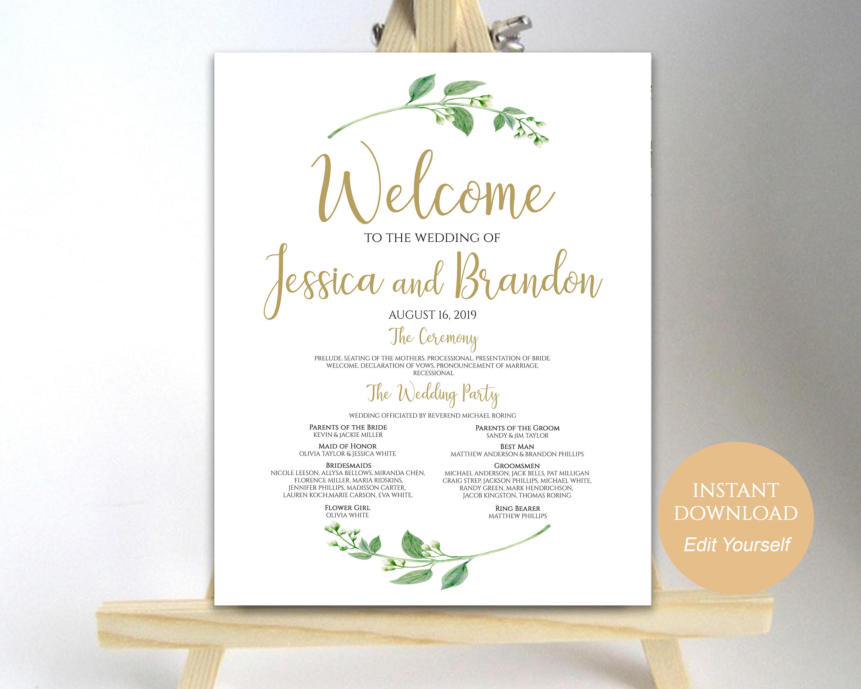 Wedding Program Sign Welcome Wedding Sign Wedding Sign Wedding - Wedding program sign template