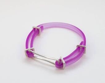 925 silver bracelet and rubber strap purple.
