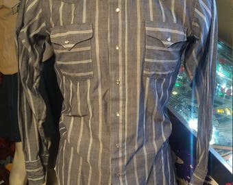Vintage Panhandle Slim Western Shirt/Vintage Blue Western Shirt. Made in the USA!