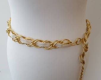 Stunning 1970s Gold Chunky Chain Link With White Faux Leather Centre Extendable Belt Original Vintage Piece Size 14-16 UK