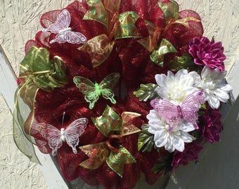 Spring Wreath, Mothers Day Wreath, Deco Mesh Wreath, Front Door Wreath