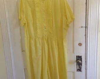 Yellow lightweight short sleeve summer sun dress with lace and accordion pleats panel