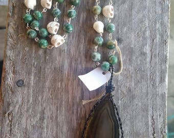 Black agate slice necklace