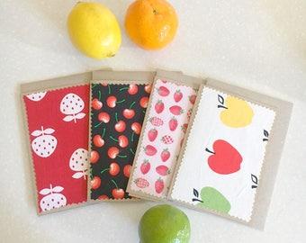 Greeting card SET x4 - Vintage fruit textile