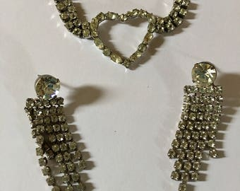 Stunning vintage rhinestone heart choker with matching earrings.