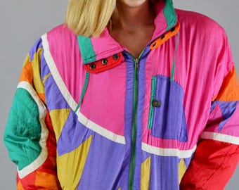 80s Ski Jacket. Funky 80s Jacket. Bright Jacket. Colorful. Geometric. 80s. 1980s. Duck Down. Ski Jacket. 80s Coat. Women. Small. Winter coat