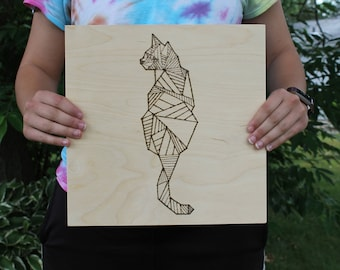 Wood Burnt Geometric Cat