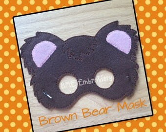 Brown Bear Mask-Halloween Costume/Mask-Dress Up-Pretend Play-Child's Imaginary Play- Birthday Party Favor-Theme Parties-Bear Mask-Photo Prop