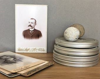 Antique Photo Vintage Old Photo Victorian Print Moustache Portrait Photo Cabinet Card Black White Photograph Card, Sepia Print, Hipster Gift