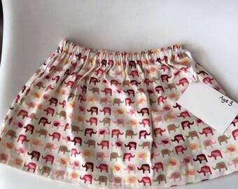 girls clothing, handmade, kids clothing, girls skirt, elephants, age 3