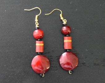 Red earings.