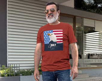 4th of July Men's T-shirt in Independence red color