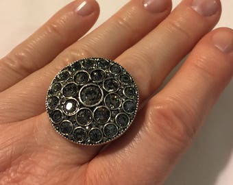 Silver and Grey Crystal Disc Ring