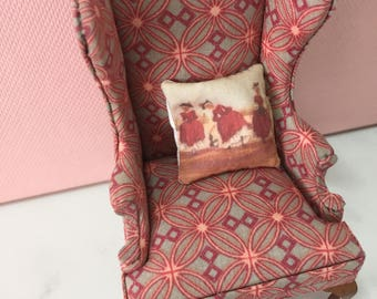 Dolls house miniature wing back chair