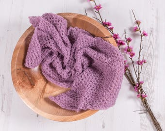 "Lacey Boucle Wrap - Alpaca yarn - ""Vintage Pink"" - Hand Knitted - Newborn Photo prop"