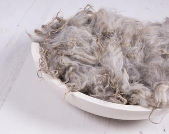 """Loose Alpaca Cloud Fluff, """"Cloudy Skies"""" basket stuffer, wool fluff, fluffy stuffer, newborn photography prop, natural alpaca, light grey"""