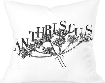 Cow parsley countryside botanical throw cushion anthriscus