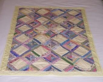 Crib Quilt, Toddler Quilt, Lap Quilt, Yellow Baby Quilt, Girl Quilt, Patchwork Quilt