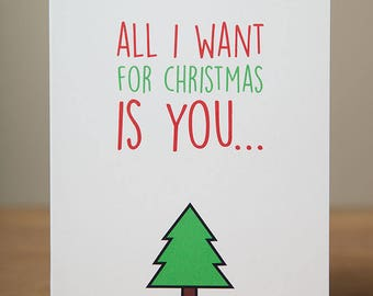 Greeting Card - Christmas, Xmas, Funny, All I want is you naked