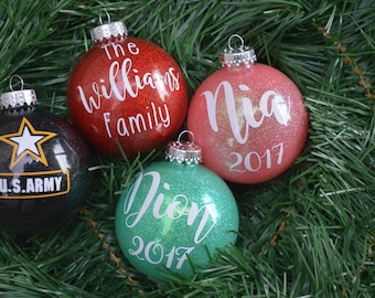 Personalized Christmas Ornaments *Glitter Ornaments* *Christmas ornaments* *stocking stuffers* handmade* ornaments