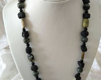 Lava stone,  Jasper,  Jade and Fresh Water Pearl necklace and earring set