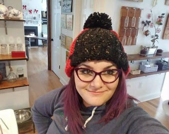 Winter hat from red and black acrylic yarn with pom pom,cute handmade beanie