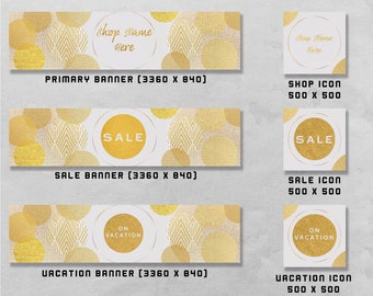 Premade Banner and Icon Set for Etsy & Facebook, Shop Front / Cover Image, Business Branding / Advertising.