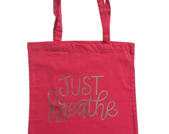 Yoga tote bag with quote 'Just breathe' and long handles, cotton bag, tote bag, yoga bag, yoga mat bag, printed bag, printed tote, tote