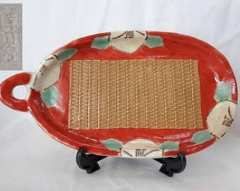 VJ95 : Rare Vintage Japanese Handmade artistic Pottery ceramic ginger grater ,cooking Tools