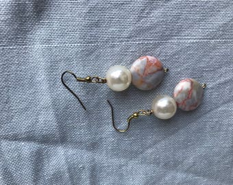 Marbled Stone and Pearl Beaded Earrings